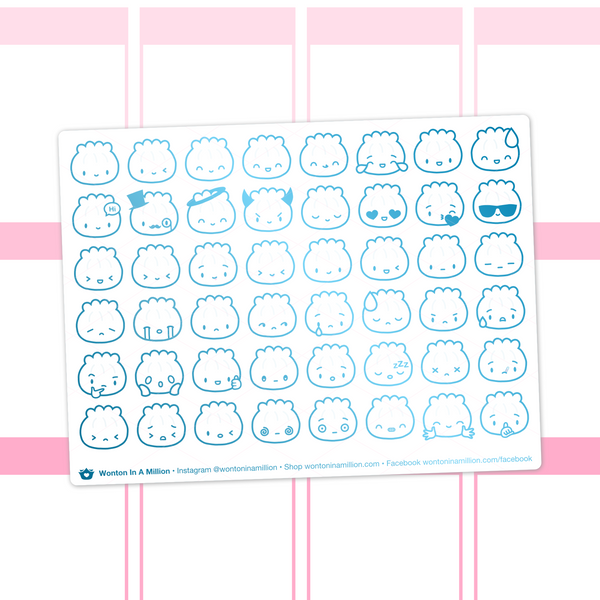Steamie Emoji Clear Stickers (Turquoise Foil)