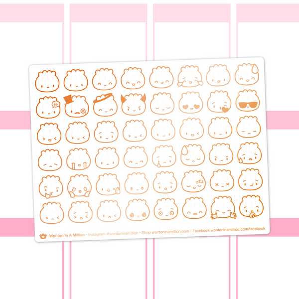 Steamie Emoji Clear Stickers (Copper Foil)