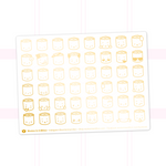 Suey Emoji Stickers On White Background (Gold Foil)