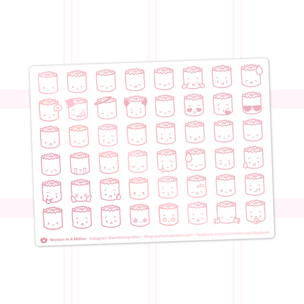 Suey Emoji Stickers On White Background (Rose Gold Foil)