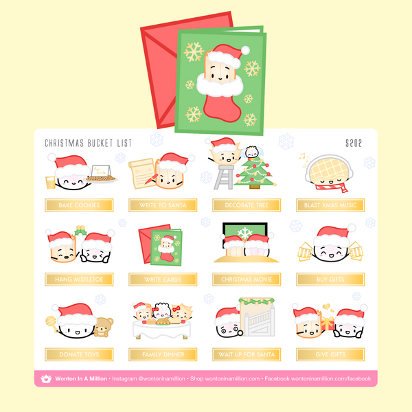 Christmas Bucket List Stickers (Gold Foiled)