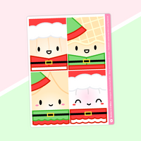 "Christmas Holiday Jumbo Steam Team Character Stickers (Full Box 1.5"" Width for Erin Condren, Printpression, etc)"
