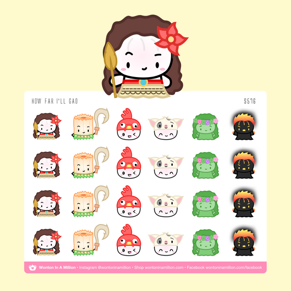Wonton Upon A Time - How Far I'll Gao Moana Stickers