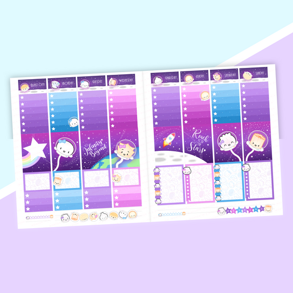 VERTICAL LAYOUT // To Infinity And Beyond Galaxy Weekly Sticker Kit (Holo Foil)