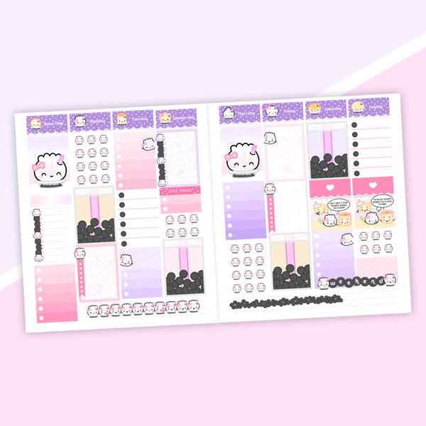VERTICAL LAYOUT // You're The Boba To My Tea Weekly Sticker Kit (Holographic Foil)