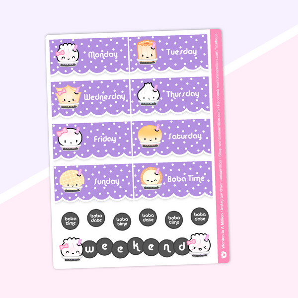 Bubble Tea - Date Cover Stickers (Holographic Foiled)