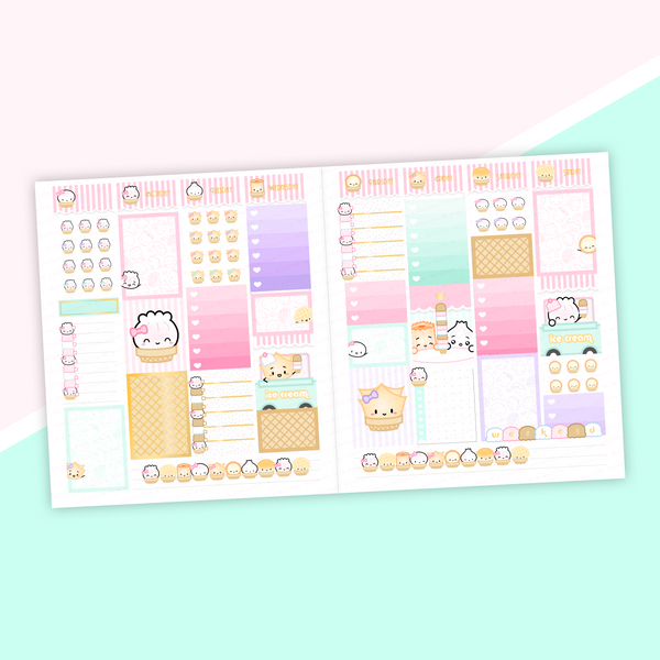 VERTICAL LAYOUT // Ice Cream Shop Weekly Sticker Kit (Light Gold Foil)