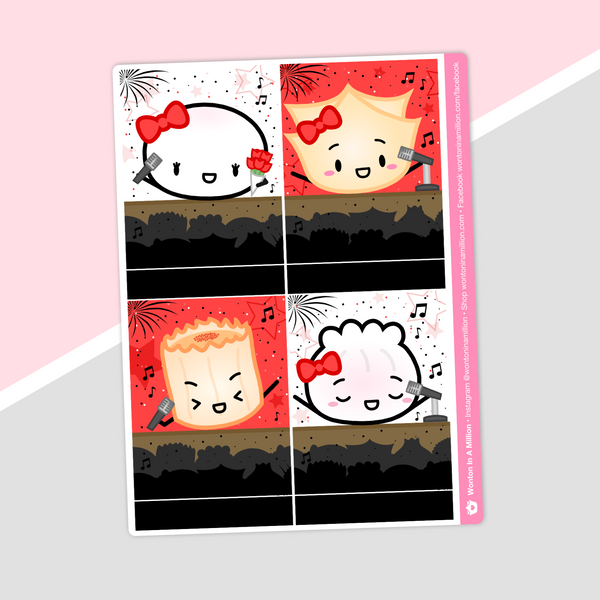 Rock 'N' Ricky Eggroll - (e) Full Box Stickers - Characters 1 (Steamie)