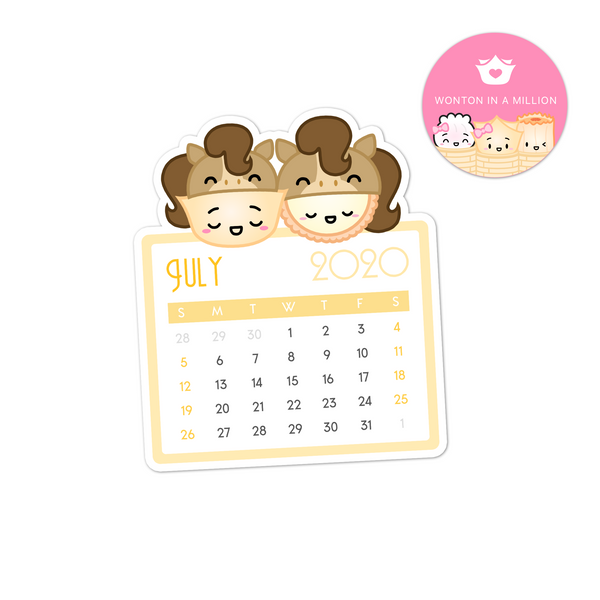 2020 07 - July Mini Calendar Diecut Sticker