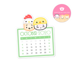 2020 10 - October Mini Calendar Diecut Sticker