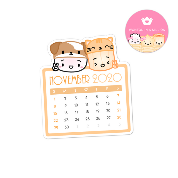 2020 11 - November Mini Calendar Diecut Sticker