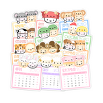 2020 Mini Calendar Diecut Stickers (Set Of 12)