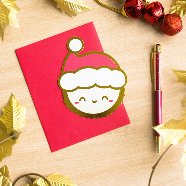 Gold Foiled Egg Tart Holiday Card (50% off)