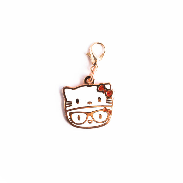 Rose Gold Enamel Hello Kitty Hat Charm