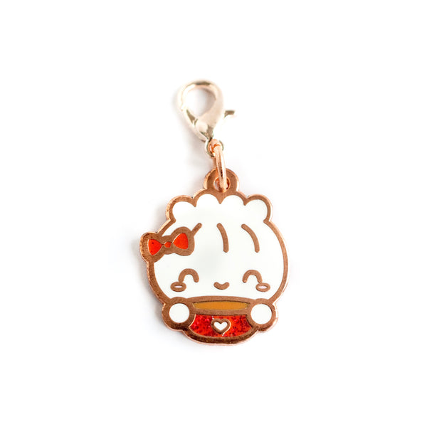 Rose Gold Enamel Steamie Loves Hot Cocoa Charm