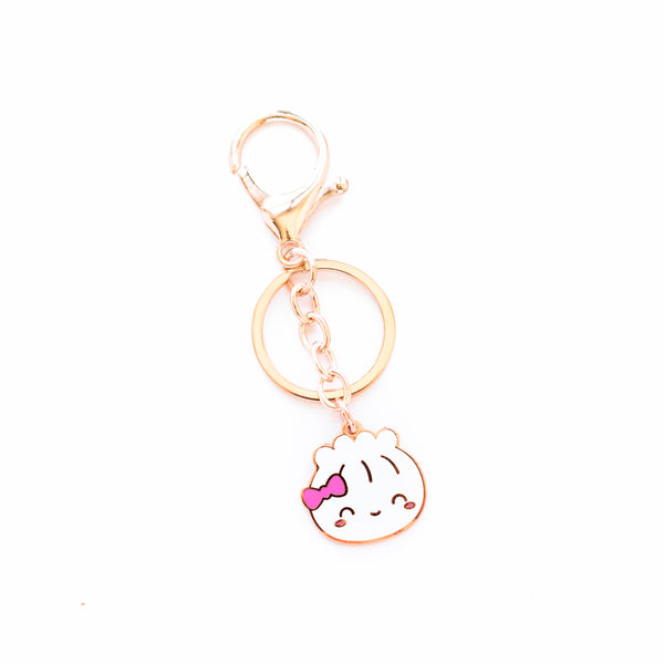 Rose Gold Enamel Steamie Keychain
