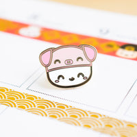 Steamie's Piggie Hat Gold Enamel Pin
