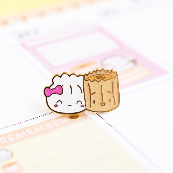 Besties Steamie and Suey Glitter Enamel Pin