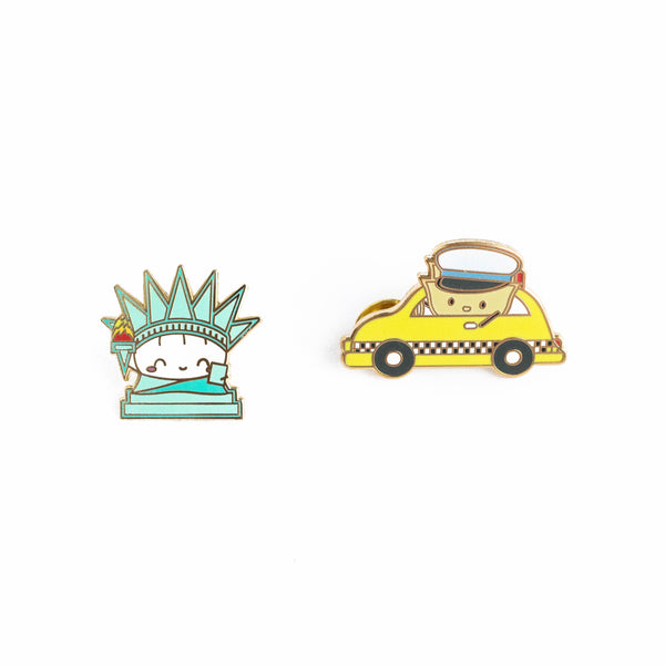 "NYC Enamel Pins - ""Steamie Of Liberty"" and ""Wonton Taxi"" (Set Of 2)"
