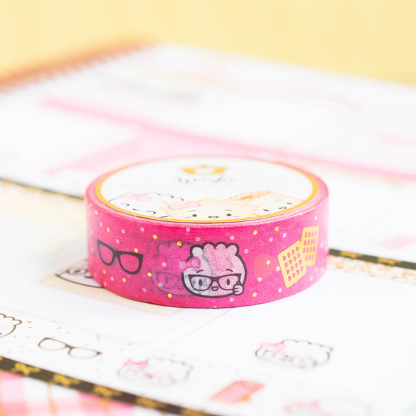 Planner Nerd Washi - Gold Foiled on Hot Pink (15mm)