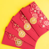 Lunar New Year - Golden Lace Flowers Cutout Red Envelopes (Set Of 2) [LIMIT 1 PER PERSON/HOUSEHOLD]
