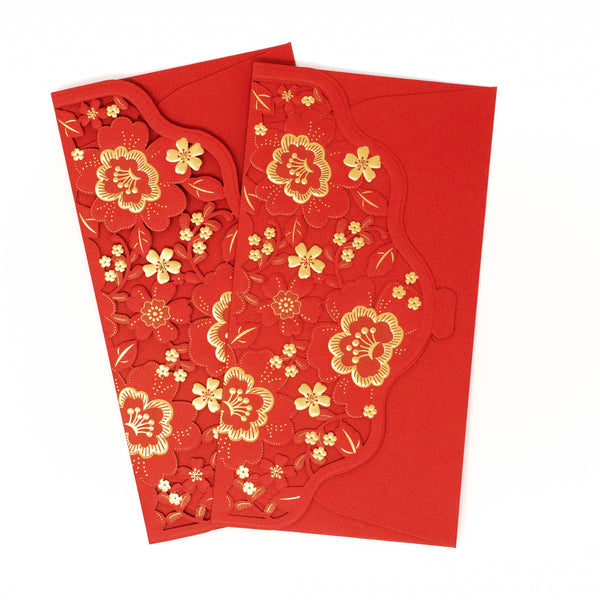Lunar New Year - Golden Lace Flowers Cutout Red Envelopes (Set Of 2)
