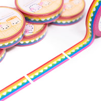 "Steam Teamrio Rainbow Hearts - Perforated 1.5"" (10mm) (Holographic Foiled)"