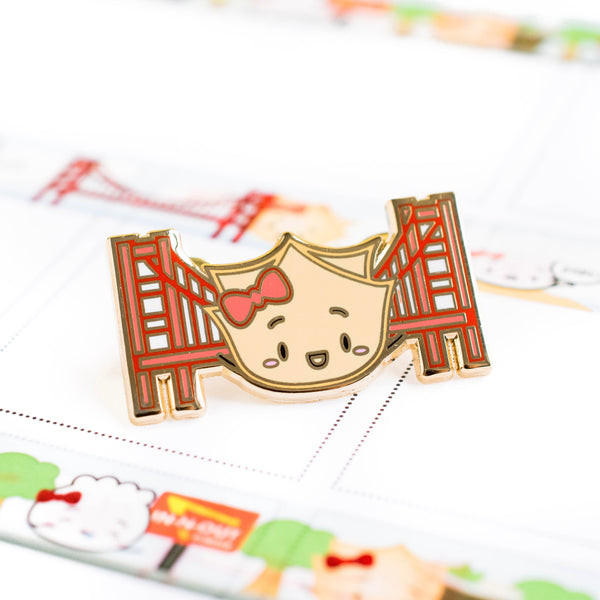 "San Francisco Enamel Pin - ""Wonton Visits The Golden Gate Bridge"""