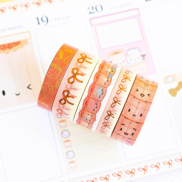 Suey's Washi Collection (Set Of 5) [with ghosting on 15mm Suey's Bow copper foil]