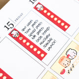Functional Red Dumpling Checklist Vertical Washi (10mm)