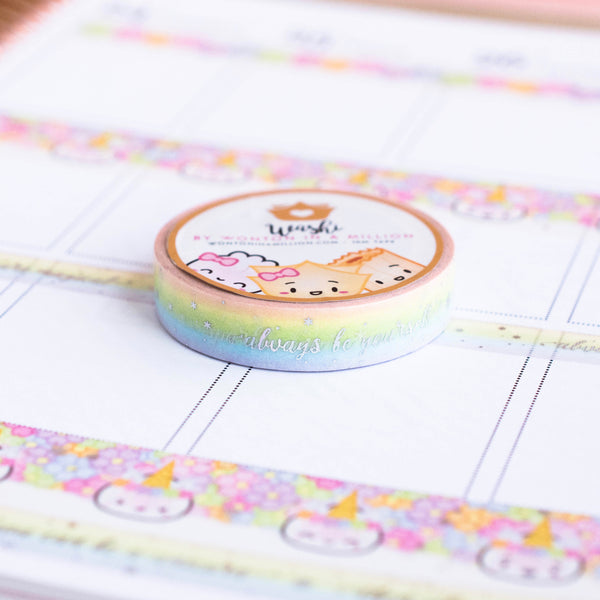 Unicorn Rainbow Words Washi (10mm)