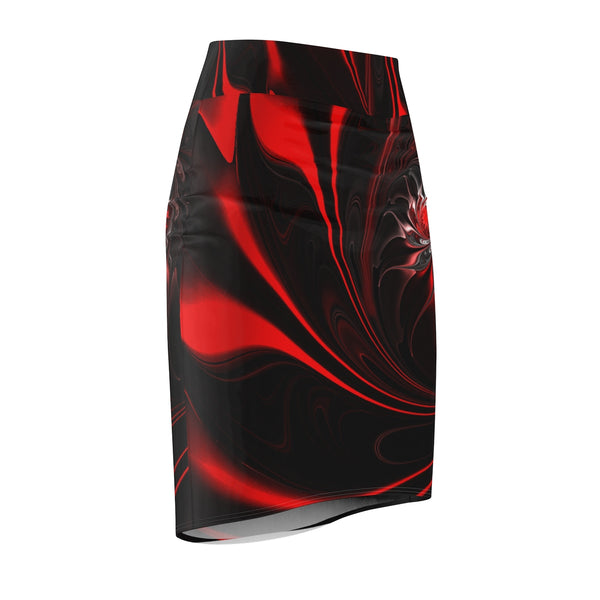 Women's Red Swirl Skirt All Over Prints Badass Stock