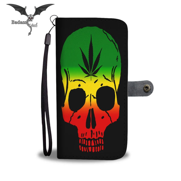 Awesome Skull and Leaf Wallet Case Wallet Case Badass Stock