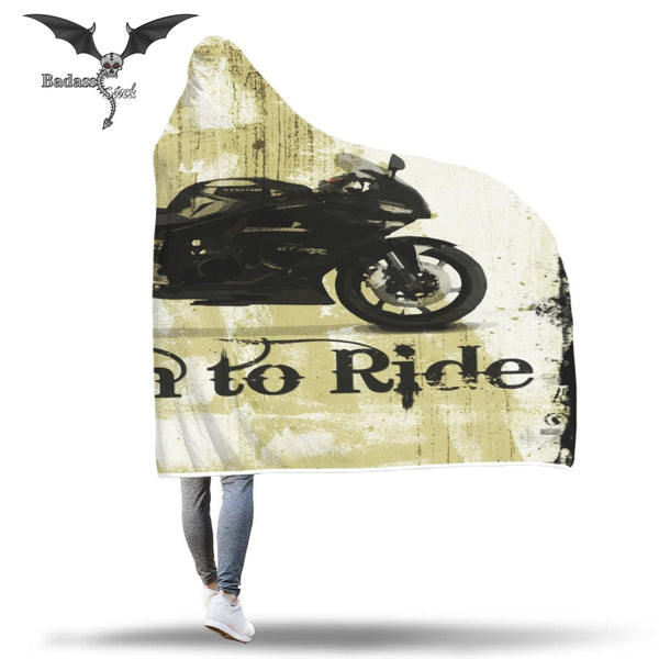 Born To Ride Hooded Blanket Hooded Blanket Badass Stock