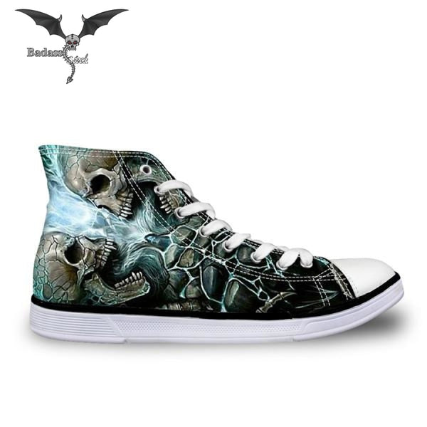 Cool Black  Double Skull  High Top Shoes shoes Badass Stock