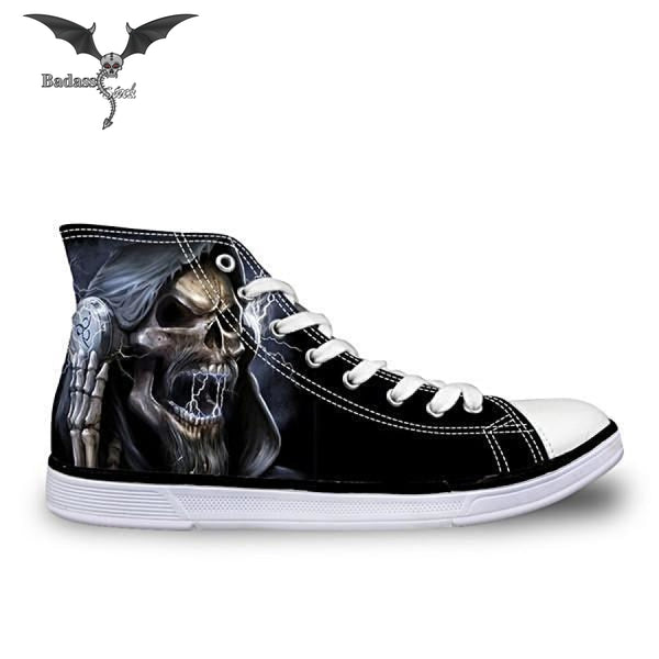 Cool Black Skull  High Top Shoes shoes Badass Stock