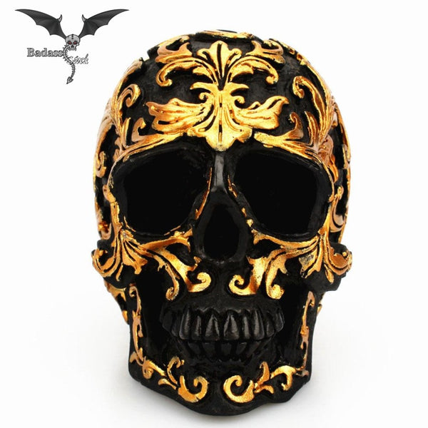 Craft Black and Gold Skull Head resin skull Badass Stock