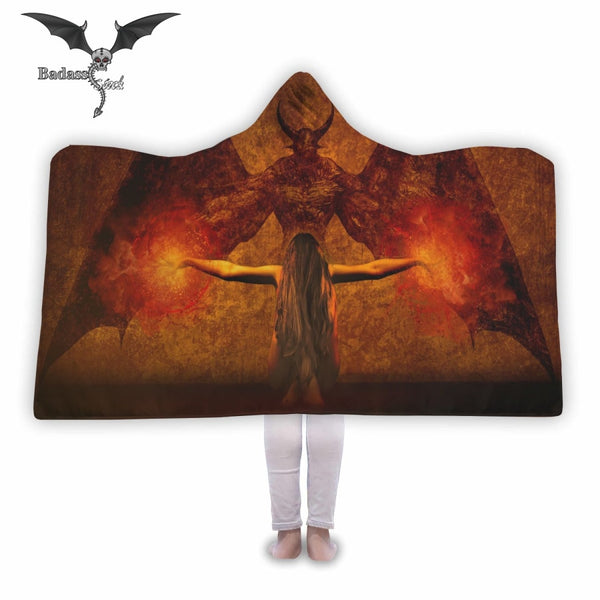 Demon and Woman Hooded Blanket Hooded Blanket Badass Stock