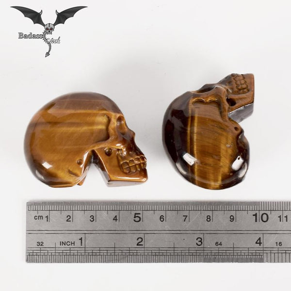 Handmade Natural Tiger Eye Skull carved skull Badass Stock