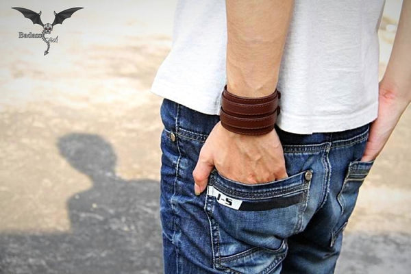 Leather Wrist Bracelet for Men and Women bracelet Badass Stock