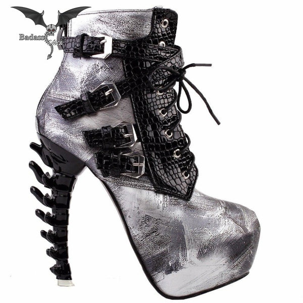 Snake Pattern High Heel Boots 200001012 Badass Stock