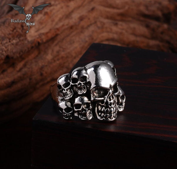 Men's Silver Stainless Steel Skull Ring  Badass Stock