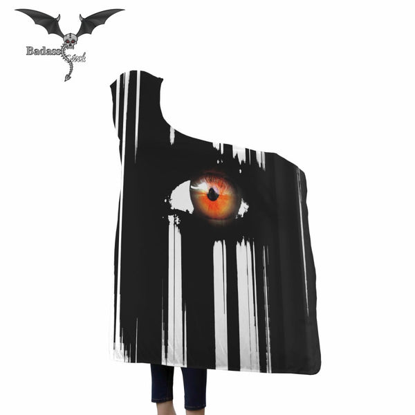 Orange Eyes Hooded Blanket Hooded Blanket Badass Stock