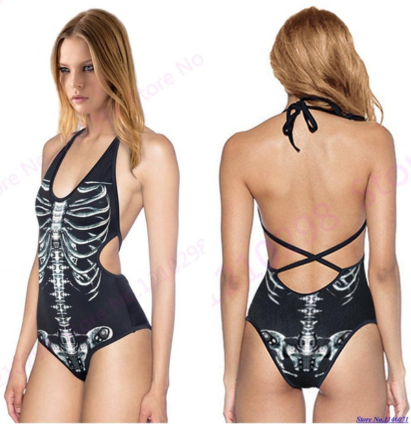 Sexy Skull Or Skeleton bones Swimsuit women swimsuit Badass Stock