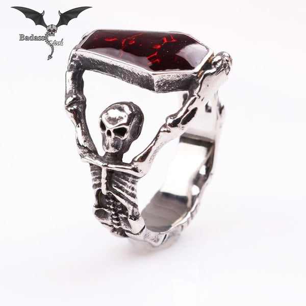 Red Stone Skeleton Ring ring Badass Stock