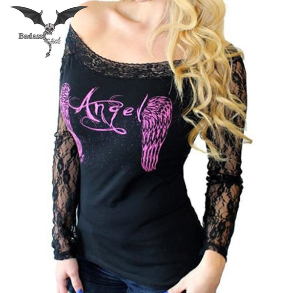 Sexy Angel Wings Women Shirt women shirt Badass Stock