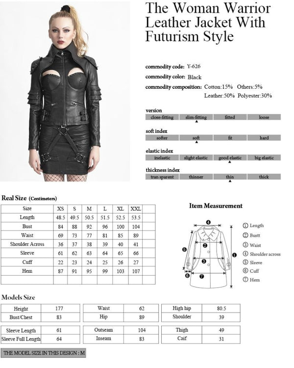 Sexy Steampunk Leather Jacket For Women jacket Badass Stock