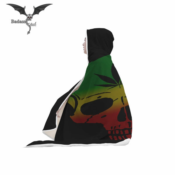 Skull and Leaf Hooded Blanket Hooded Blanket Badass Stock