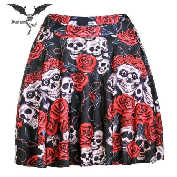 Skull and Roses Skirt skirt Badass Stock