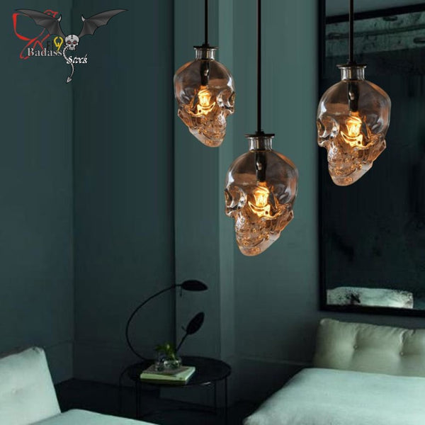 Skull Clear Glass Pendant Light lamp Badass Stock